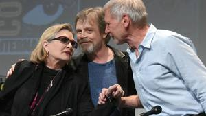 Carrie Fisher, Mark Hamill og Harrison Ford. Foto: AP