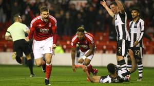 Nicklas Bendtner sikrede Nottingham Forest det ene point mod Newcastle. Foto: All Over Press