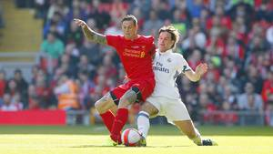 Daniel Agger viste fin form i legendekampen på Anfield Road. Foto: All Over Press