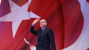 Her ses præsident Recep Tayyip Erdogan. Foto: Kayhan Ozer/Presidential Press Service, Pool Photo via AP