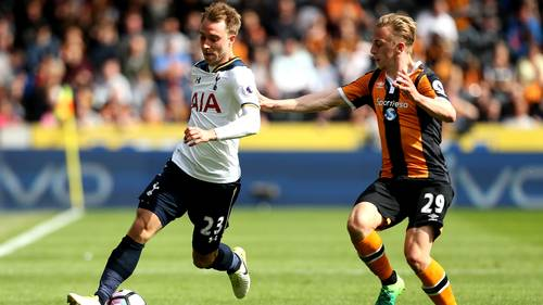 Eriksen og Tottenham kørte Hull over med 7-1 søndag. Foto: Robbie Stephenson/All Over Press