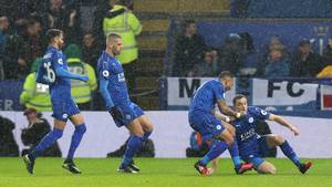 Lørdag aften blev der igen afholdt 'Vardy-party' på King Power Stadium. Foto: All Over Press.