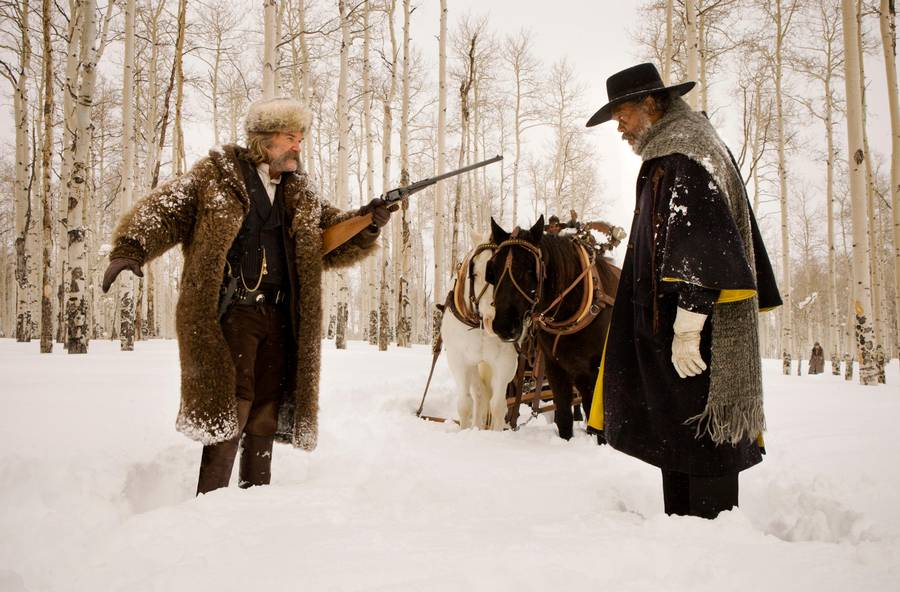 Kurt Russell og Samuel L. Jackson spiller to dusørjægere i 'The Hateful Eight'. (Foto: Scanbox)