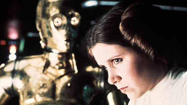 Carrie Fisher og 3-CPO. Foto: AP