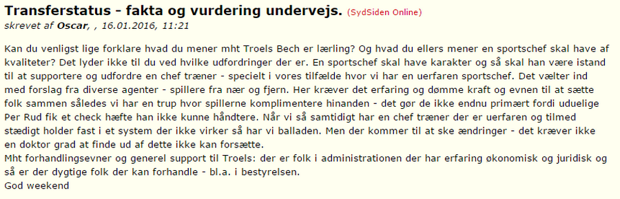 Jan Bech under pseudonymet 'Oscar'. (Screenshot, Sydsiden Online)