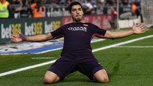 Luis Suarez greb chancen, da Espanyol  tilbød den. Foto: All Over Press.