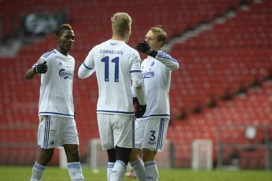 Andreas Cornelius scorede for FCK i 2-0-sejren over Lyngby (Foto: Ole Steen)