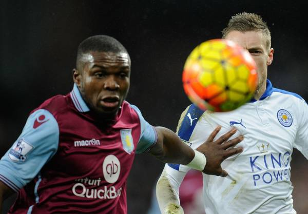 Jores Okore i kamp mod Leicesters Jamie Vardy (Foto: All Over Press)