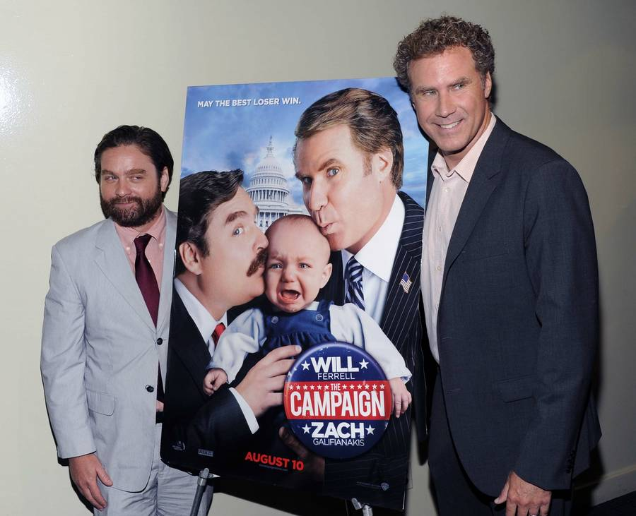 Will Ferrell og Zach Galifianakis promoverer her deres nye film 'The Campaign'.(Foto: AP)