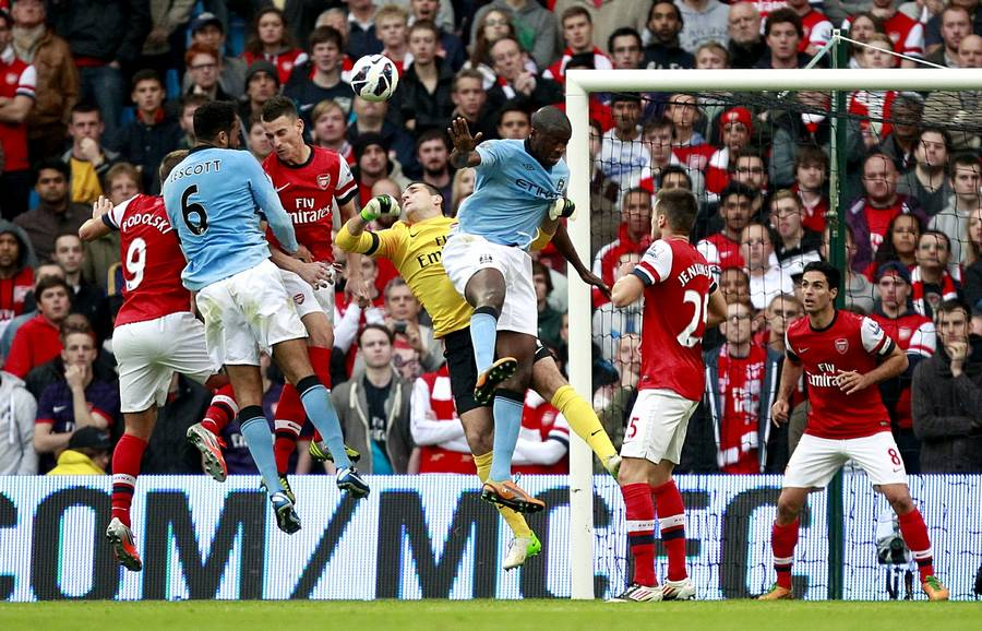 Joleon Lescott scorer for Manchester City mod Arsenal søndag. (Foto: PA Photos)