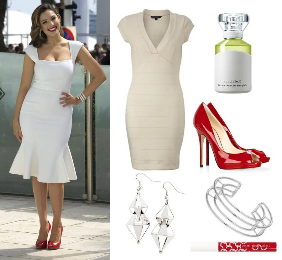 Kelly Brook var smart i Marilyn stil med røde læber og hvid kjole: 1. Kjole fra French Connection til ca. 765 kr. på frenchconnection.com 2. Øreringe fra H&M til 39,95 kr. på hm.com 3. Parfume 'Untitled' fra Maison Martin Margiela til 495 kr. for 30 ml. 4. Stiletter fra Jimmy Choo til ca. 3.715 kr. på net-a-porter.com 5. Armbånd fra Topshop til 135 kr. på topshop.com 6. Rød lipgloss fra Uslu Airlines på tilbud til 123 kr. på youheshe.com (Foto: AP og producenter)
