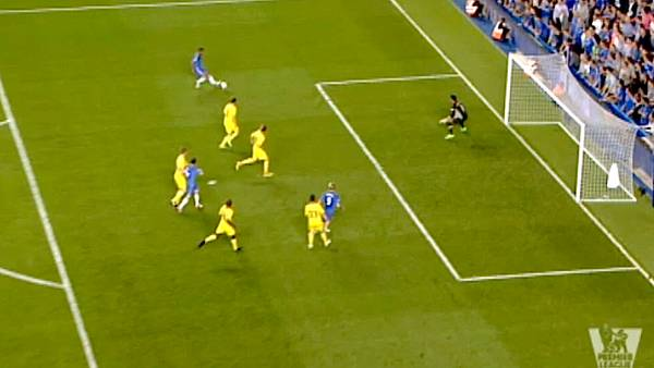 Torres scorede til 3-2 mod Reading i en klar offside. (Foto: Screendump fra tv-indslag)