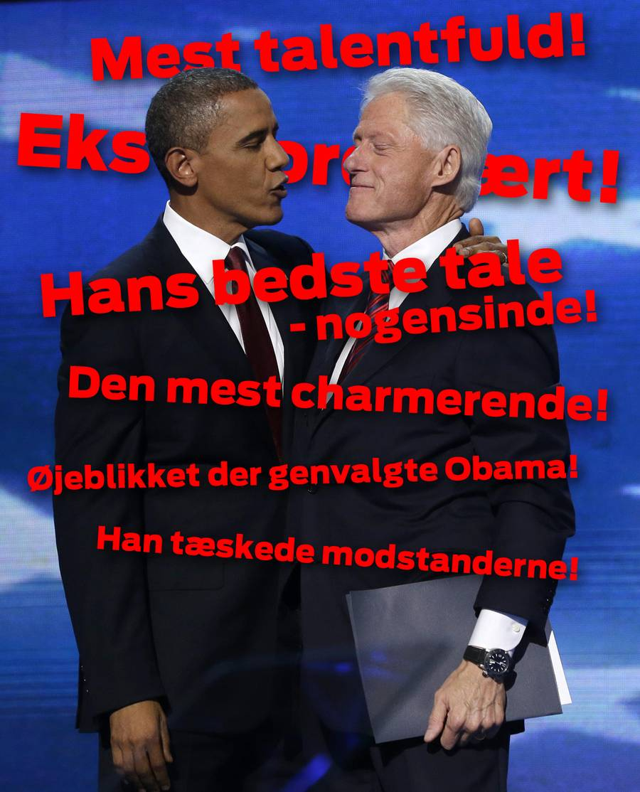 Præsident Obama kom selv på scenen under Bill Clintons buldrende bifald for at give ham en krammer. (Foto: Charles Dharapak/AP)