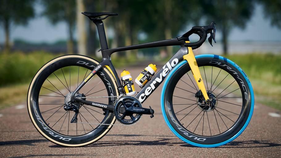 Sådan ser en Tour-cykel ud med det specielle blå dæk foran. PR-foto