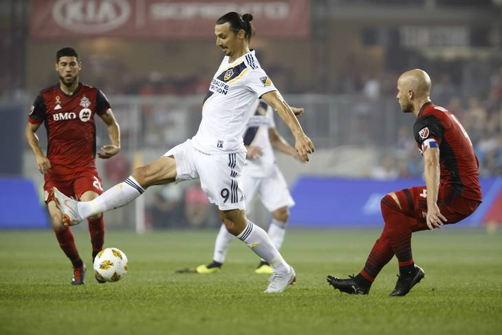 Zlatan i aktion for LA Galaxy. Foto: AP.