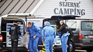 Kriminalteknikere ved campingpladsen. Foto: Christian Holte.