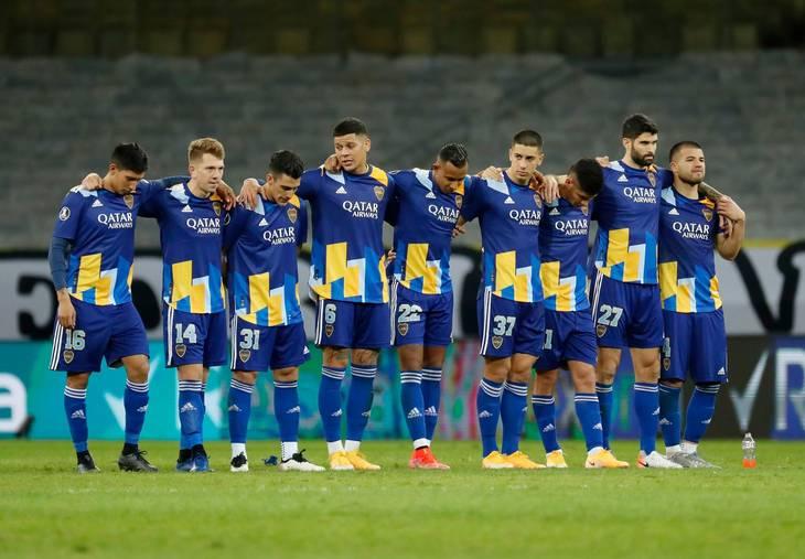 Boca Juniors-spillerne under straffesparkskonkurrencen. Foto: Bruna Prado/Ritzau Scanpix