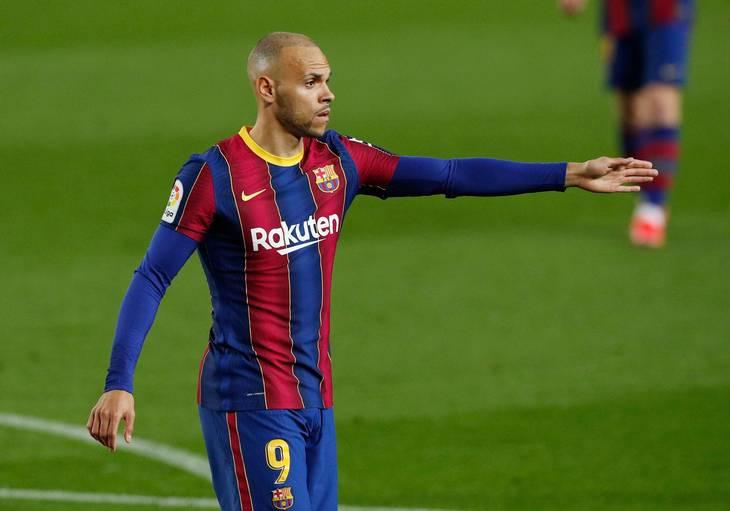 Barcelona prøver at få en højere pris for Martin Braithwaite, end man havde regnet med inden EM . Foto: Albert Gea/Ritzau Scanpix