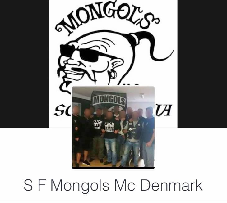 Her ses Mongols-medlemmer i trøjer, som viser, hvor meget modstandere de er af Hells Angels.
