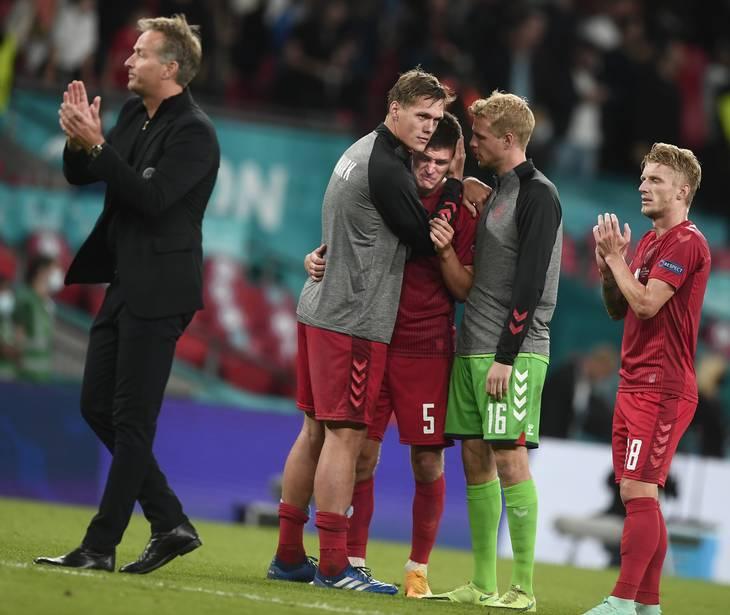 Joakim Mæhle viste følelser, da Danmark røg ud mod England. Hans oplæg til 2-0 målet mod Tjekkiet er et af slutrundens flotteste. Foto: Lars Poulsen.
