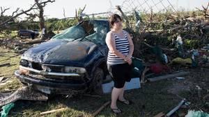 Kimberly Chandler mistede sit hjem i Canton i det østlige Texas, hvor flere tornadoer ramte området. (Foto: AP)