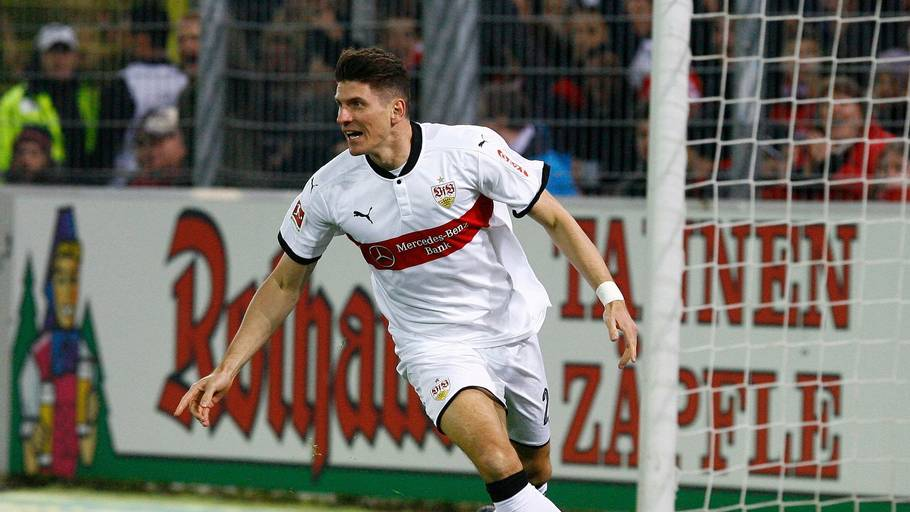 Mario Gómez viste målnæse for Stuttgart. Foto: All Over Press/pixathlon/REX