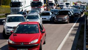 Mange danskere oplever køer på de tyske motorveje. Foto: Polfoto/Finn Frandsen