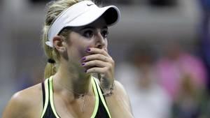 'Gud, jeg skal møde mit idol', synes holdningen at være hos 17-årige Catherine Bellis før dagens kvartfinale mod Caroline Wozniacki. Foto: AP