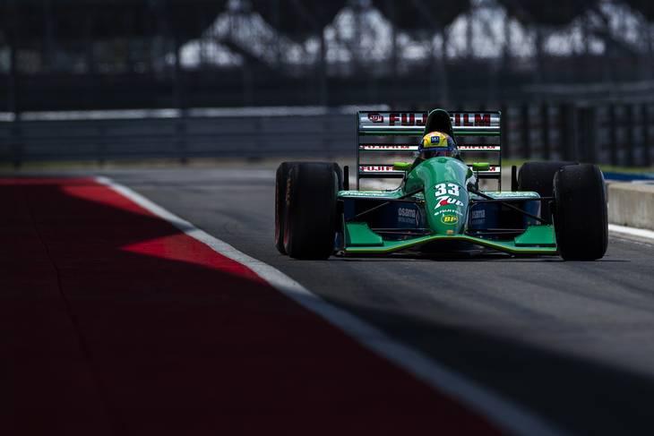 Eddie Jordans team debuterede i Formel 1 i 1991 med denne bil. Den er designet af Gary Anderson, som i senere år har været teknisk ekspert for Autosport og The Race. Foto: LAT/Haas F1 Team
