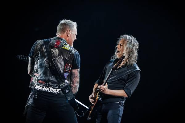 James Hetfield og Kirk Hammett fra Metallica, der for første gang gæster Boxen. Foto: Per Lange