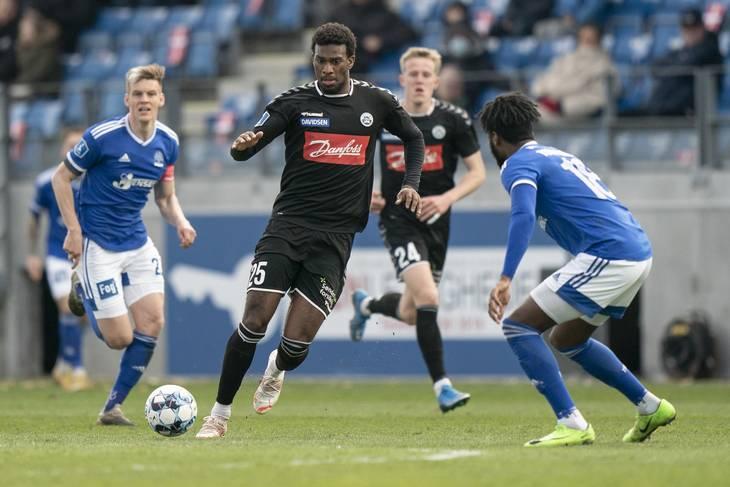 Haji Wright nåede 11 scoringer i 29 Superliga-kampe. Foto: Emil Agerskov