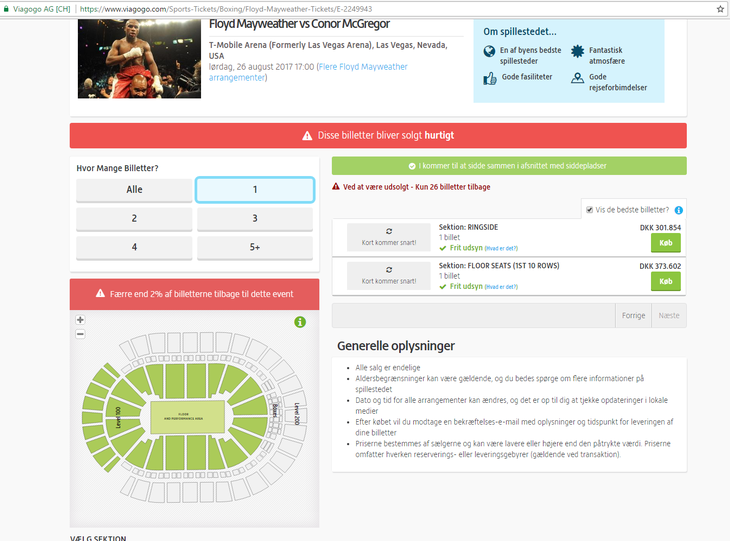 De dyre billetter på Viagogo Foto: Screendump