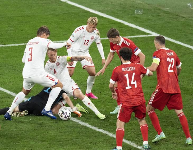 Efter pausen i kampen mod Rusland vadede det danske hold i chancer. Foto: Claus Bech/Ritzau Scanpix