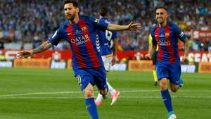 Barcelonas altoverskyggende stjerne Lionel Messi styrede og afgjorde Copa Del Rey-finalen med scoring og assist. Foto: AP/Daniel Ochoa de Olza.