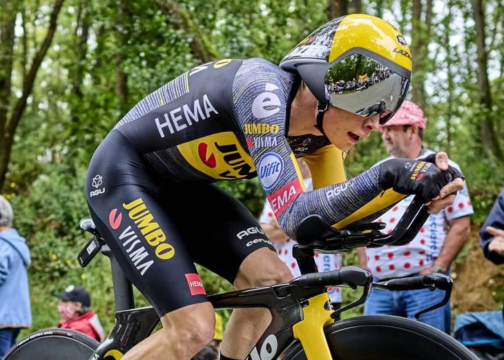 Vingegaard beviste sit store potentiale på 5. etapes enkeltstart. Foto: Claus Bonnerup.