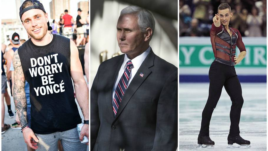 Gus Kenworthy, Mike Pence og Adam Rippon. Foto: All Over Press