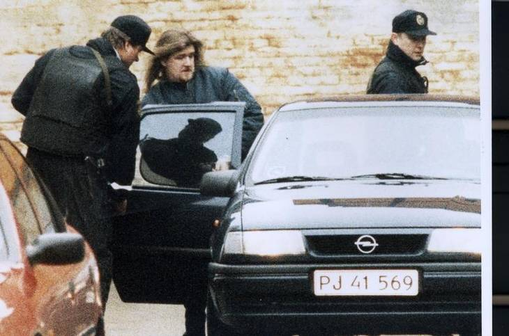 Jørgen 'Fehår' Nielsen, som han så ud under en afhøring efter drabet i 1996. Polfoto