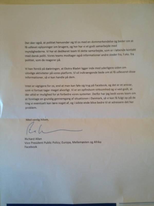 Her kan du læse hele brevet, som Lars Christensen og Ann Vuust har fået fra Facebook. Privatfoto