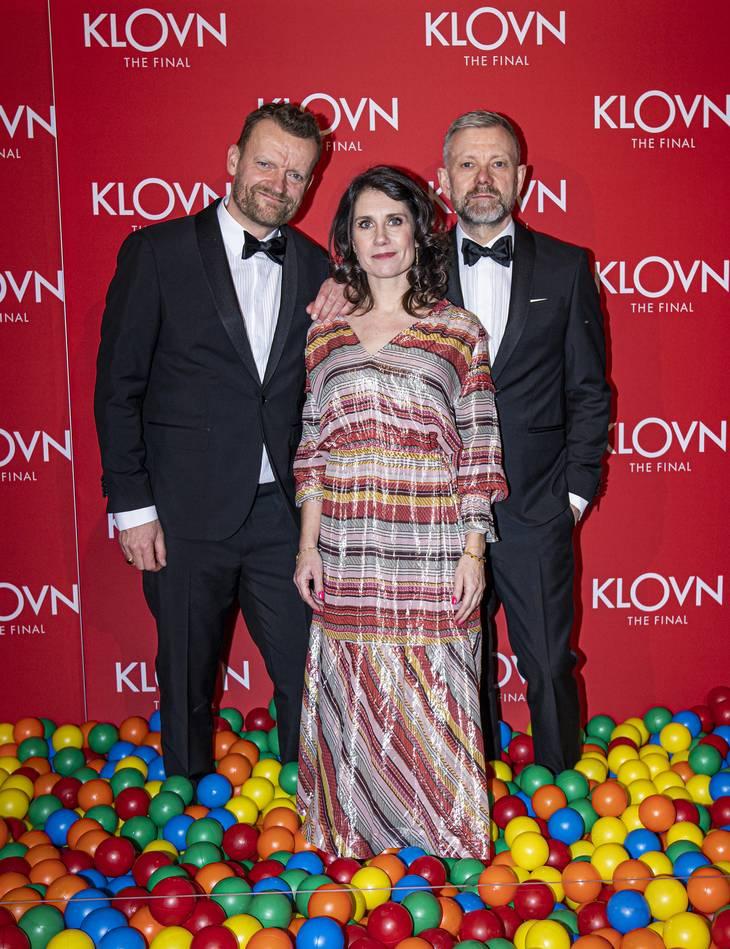 Her ses Mia Lyhne sammen med Casper og Frank i anledningen af premieren på 'Klovn - The Final'. Foto: Jonas Olufson