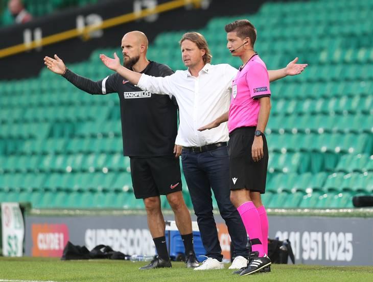 Bo Henriksen kunne se Evander give FC Midtjylland en livline på Celtic Park. Foto: Russell Cheyne/Ritzau Scanpix