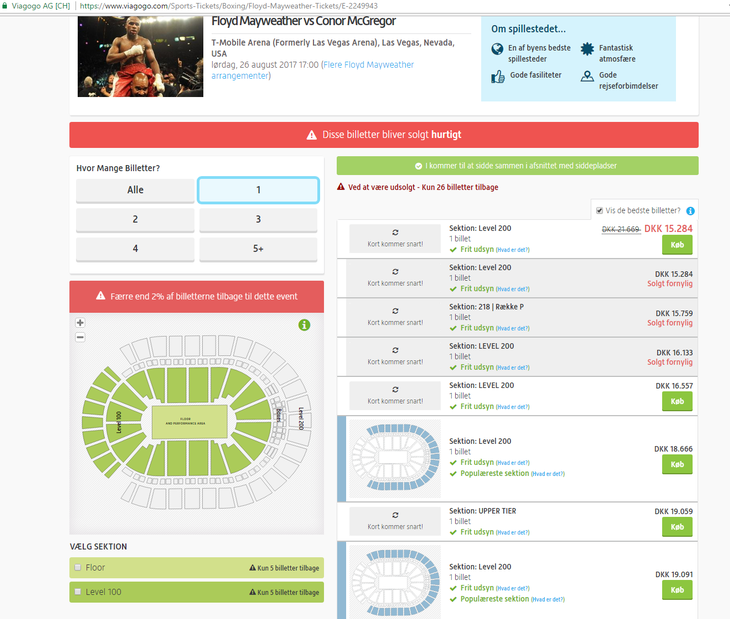 De 'billige' billetter på Viagogo Foto: Screendump