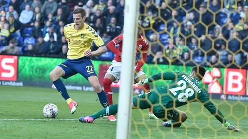 Gustaf Nilsson udlignede til 1-1. Foto: Lars Poulsen