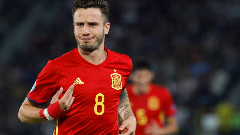 Saúl Ñíguez fejrer en scoring for Spanien under U21-EM. (Foto: AP)