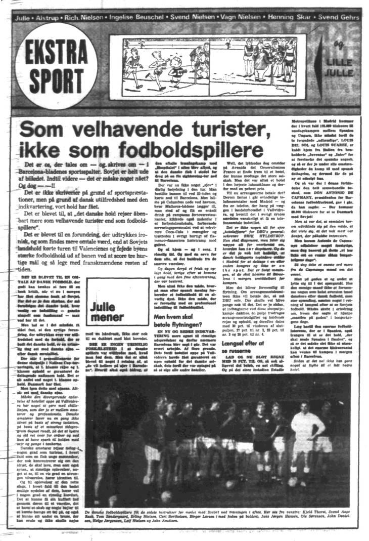 Ekstra Bladets daværende sportschef, Julius 'Julle' Larsen var den 16. juni 1964 helt på de danske amatørers side.