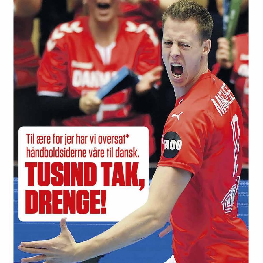 4948f8bc VG har oversat avisens håndboldsider til dansk som tak for sejren over  Sverige. Foto: