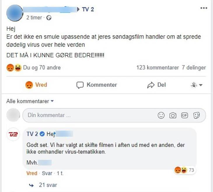 TV2 kunne godt se fornuften i at skifte filmen ud. Foto: Facebook