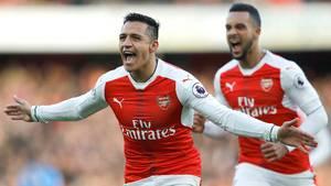 Alexis Sanchez blev matchvinder, da Arsenal besejrede Burnley med 2-1. Foto: AP.