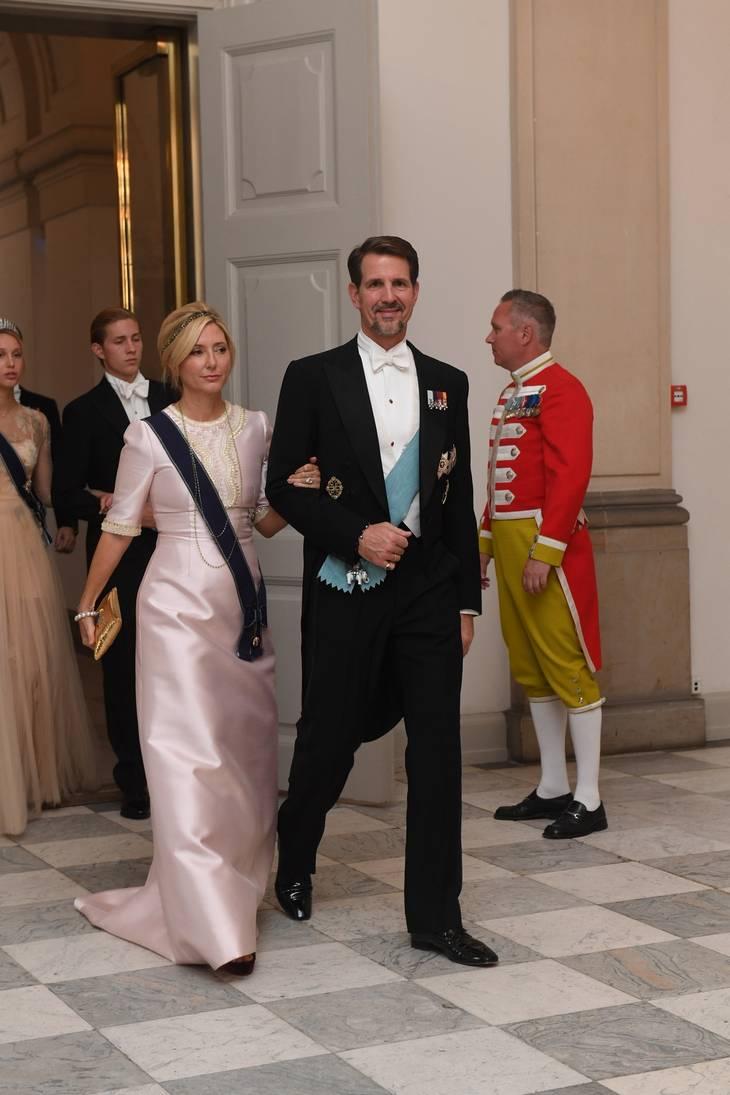 Kronprins Pavlos' hustru, Marie Chantal, var også i sart rosa. Foto: Jonas Olufson