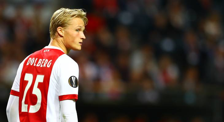 Kasper Dolberg bliver i Ajax. Foto: Kieran McManus/BPI/REX/All Over Press
