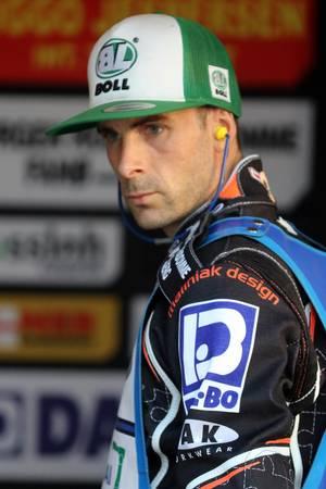 Niels-Kristian Iversen, lørdag aften under det tyske Speedway Grand Prix i byen Teterow. (Jarek Pabijan/POLFOTO)